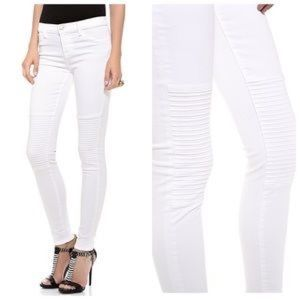 J BRAND Nicola moto inspired white skinny jeans